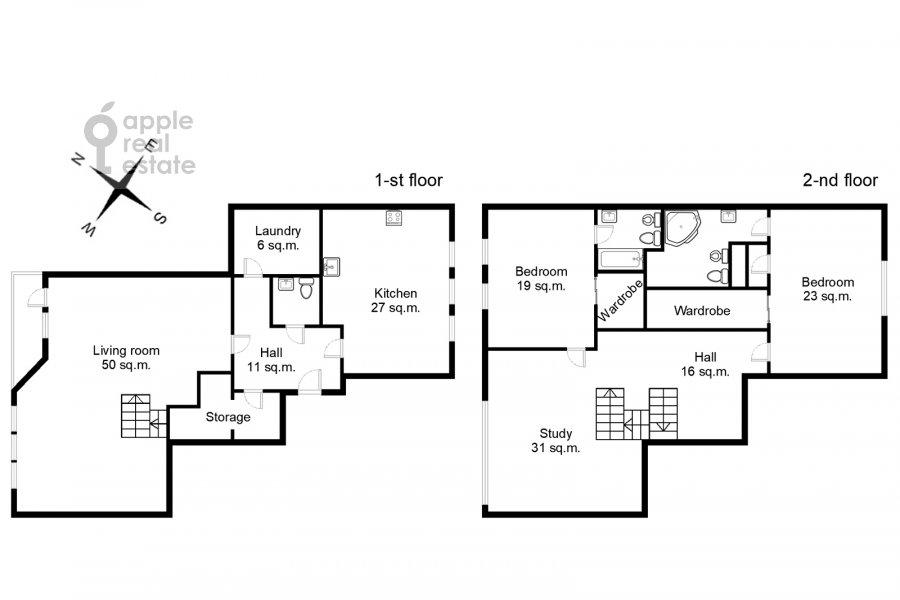 Поэтажный план 4-комнатной квартиры по адресу Малый Николопесковский переулок 4