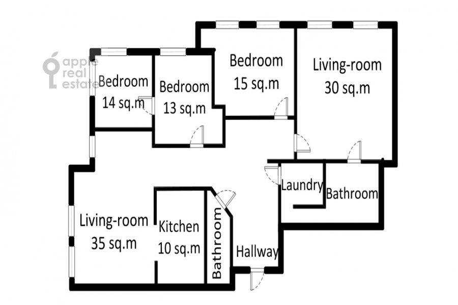 Floor plan of the 5-room apartment at Aviatsionnaya ul. 77Bk5