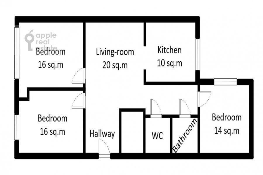 Поэтажный план 4-комнатной квартиры по адресу Арбат 30/2стр.1