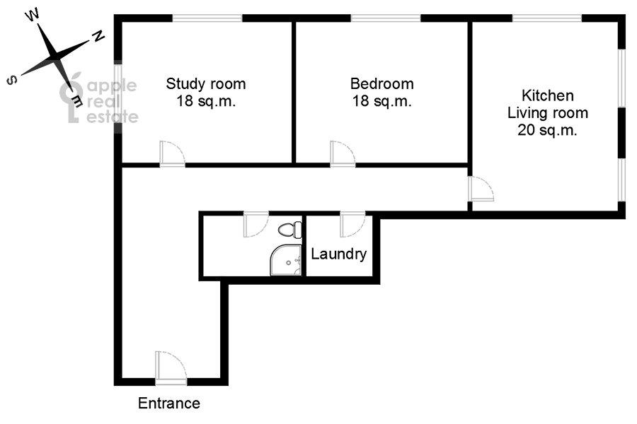 Floor plan of the 3-room apartment at Mira pr-t. 49