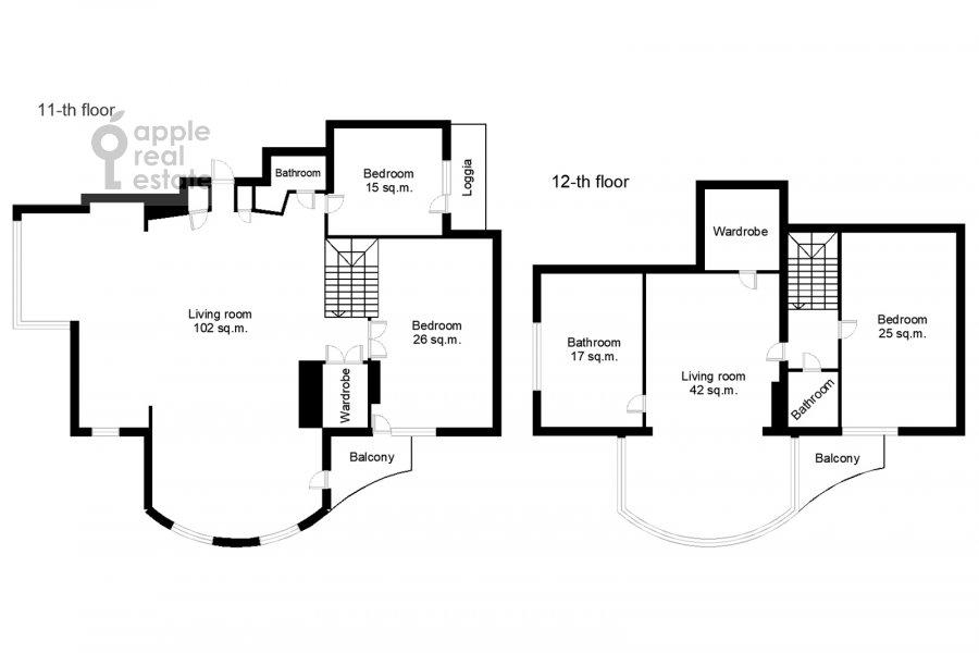 Floor plan of the 5-room apartment at Taganskaya ulitsa 36k2
