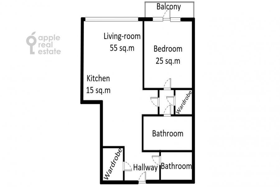 Поэтажный план 2-комнатной квартиры по адресу Нежинская 1к3