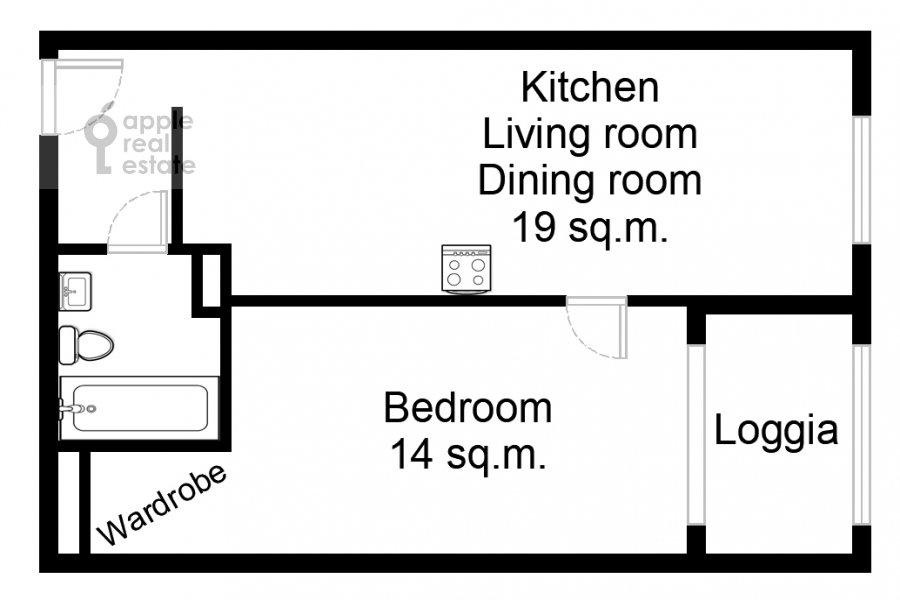 Floor plan of the 2-room apartment at Kronshtadtskiy bul'var 6k1