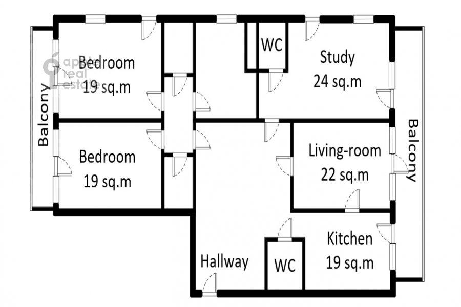 Floor plan of the 4-room apartment at Dokhturovskiy pereulok 6