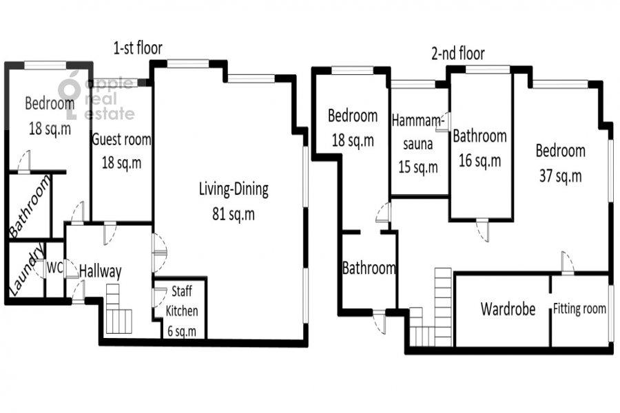 Floor plan of the 5-room apartment at Mosfil'movskaya ulitsa 8