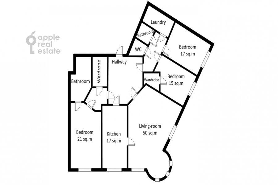 Floor plan of the 4-room apartment at Pogorel'skiy pereulok 6