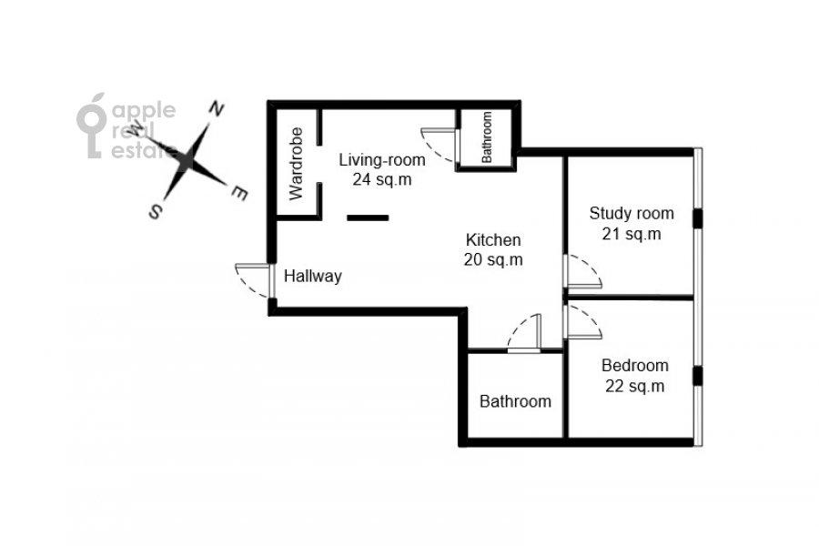 Floor plan of the 3-room apartment at Aviamotornaya ulitsa 12