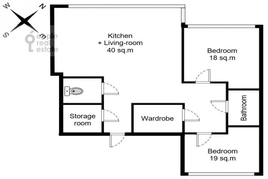 Floor plan of the 3-room apartment at Leningradskiy prospekt 76k2