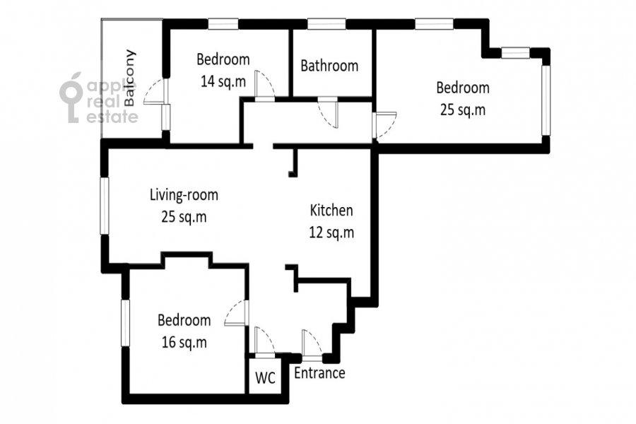 Floor plan of the 4-room apartment at Chasovaya ulitsa 23k1