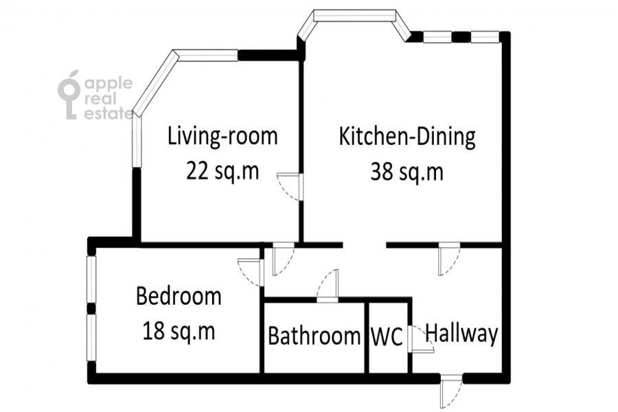Floor plan of the 3-room apartment at Gilyarovskogo 4k1