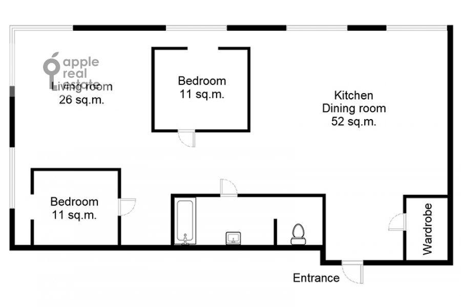 Floor plan of the 3-room apartment at prospekt Mira 188Bk4
