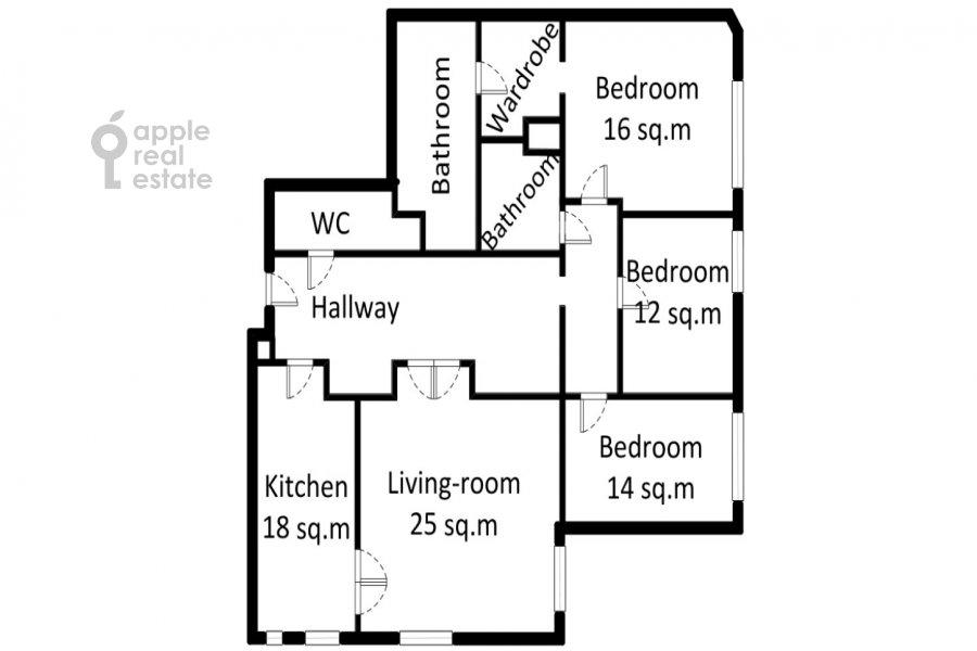 Floor plan of the 4-room apartment at Ordzhonikidze 1