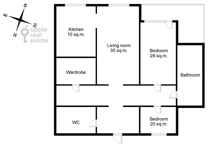 Floor plan of the 3-room apartment at Arkhitektora Vlasova ul. 18