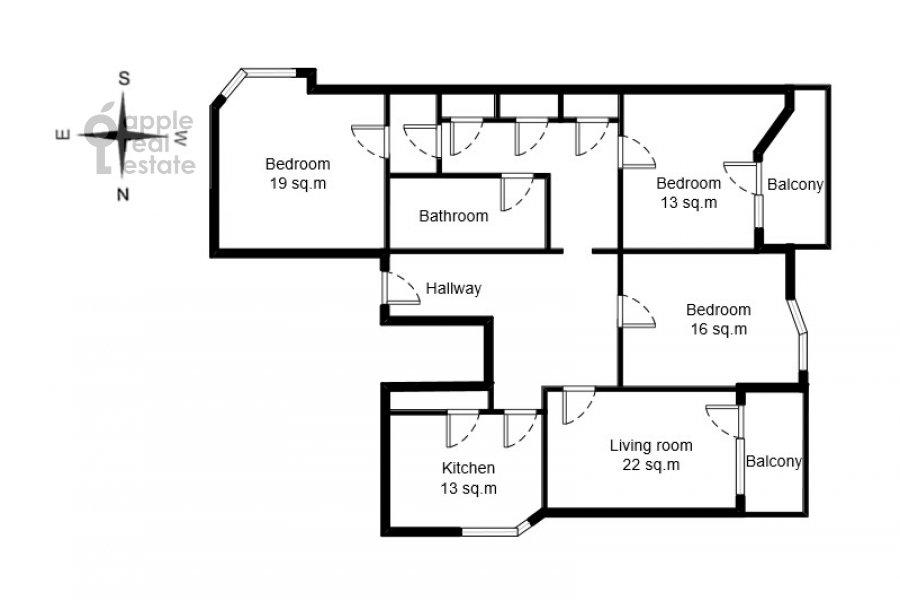 Floor plan of the 4-room apartment at Starokonyushennyy pereulok 28s1