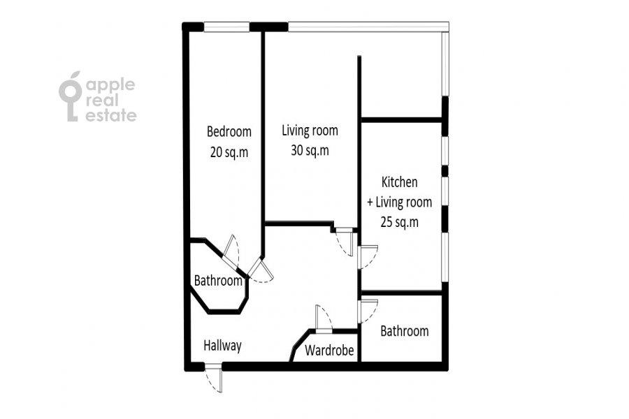 Floor plan of the 3-room apartment at Studencheskaya ul. 20k1