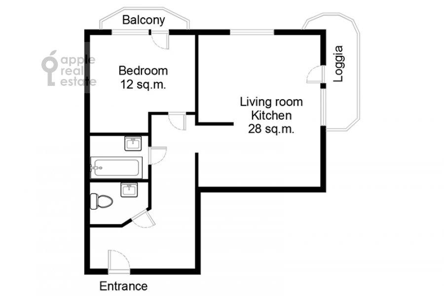 Поэтажный план 2-комнатной квартиры по адресу Веерная улица 2