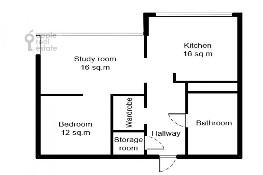 Поэтажный план 2-комнатной квартиры по адресу Рублевское шоссе 70к6