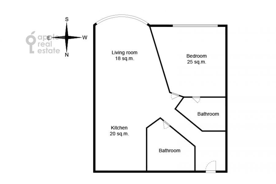 Поэтажный план 2-комнатной квартиры по адресу проспект Вернадского 92