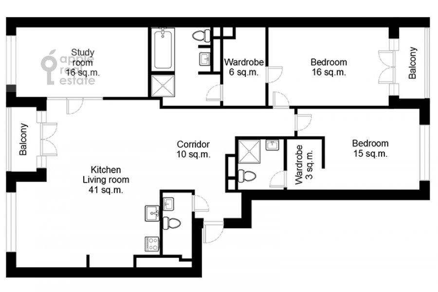 Floor plan of the 4-room apartment at Leningradskiy prospekt 35S2