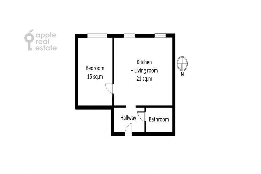 Floor plan of the 2-room apartment at Prosvirin pereulok 15