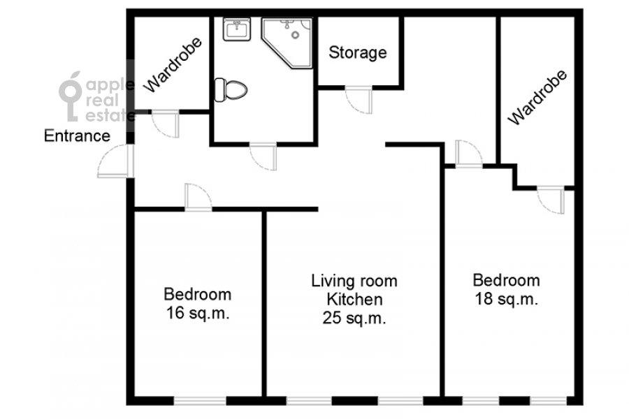 Поэтажный план 3-комнатной квартиры по адресу 2-й Неопалимовский пер. 11