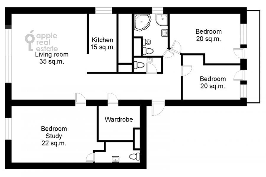 Поэтажный план 4-комнатной квартиры по адресу Климентовский переулок 2