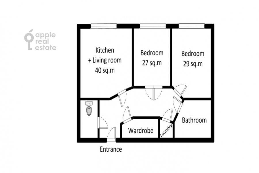 Floor plan of the 3-room apartment at Bol'shaya Sadovaya ulitsa 5k1