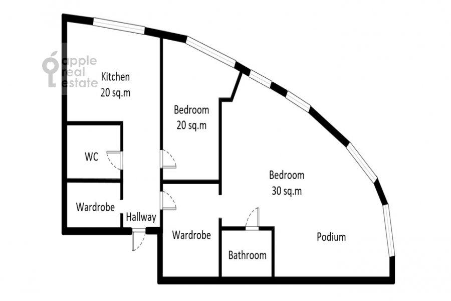 Поэтажный план 2-комнатной квартиры по адресу Профсоюзная ул. 64к2