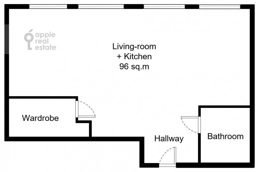Поэтажный план 1-комнатной квартиры по адресу Большая Грузинская ул. 69