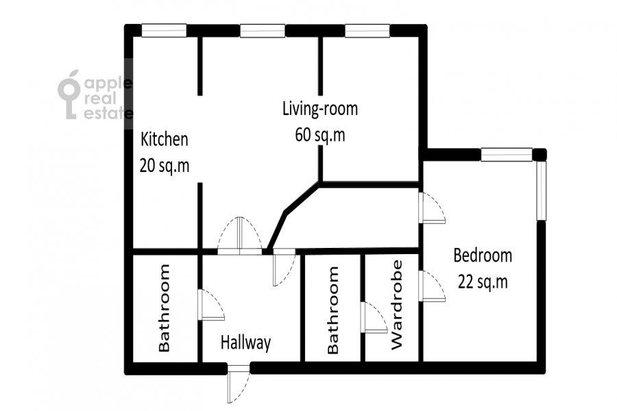 Floor plan of the 2-room apartment at 1-y Smolenskiy pereulok 17