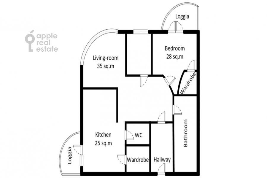 Floor plan of the 2-room apartment at Rossoshanskaya ul. 2k4