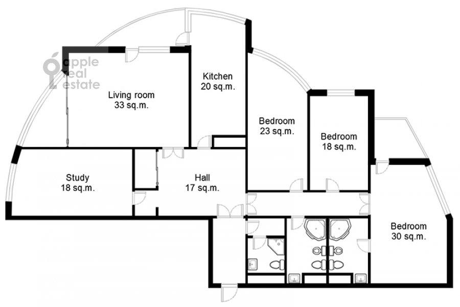 Floor plan of the 5-room apartment at Leninskiy prospekt 106k1