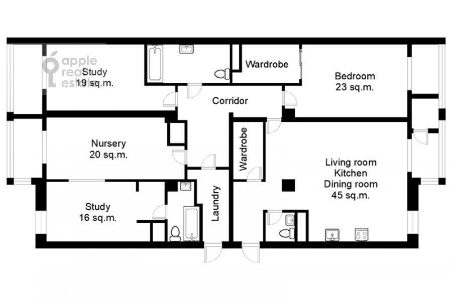 Floor plan of the 5-room apartment at Davydkovskaya 3