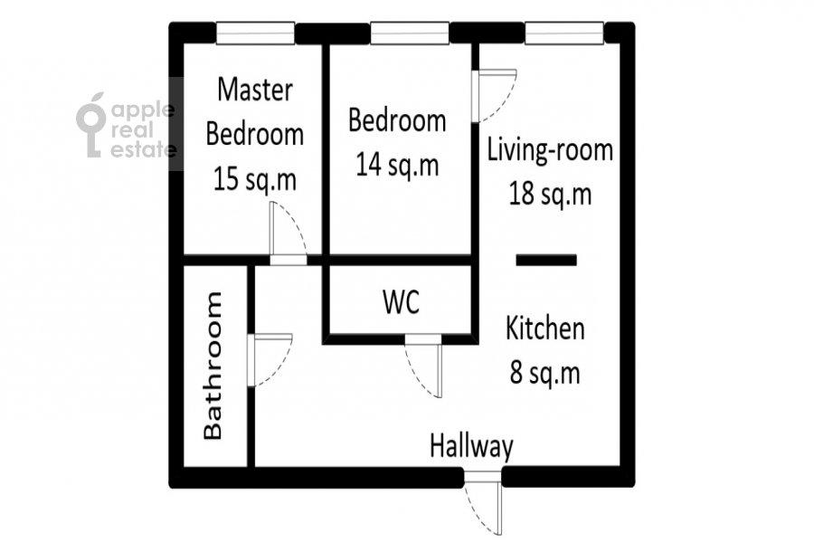 Поэтажный план 3-комнатной квартиры по адресу Ходынская улица 2