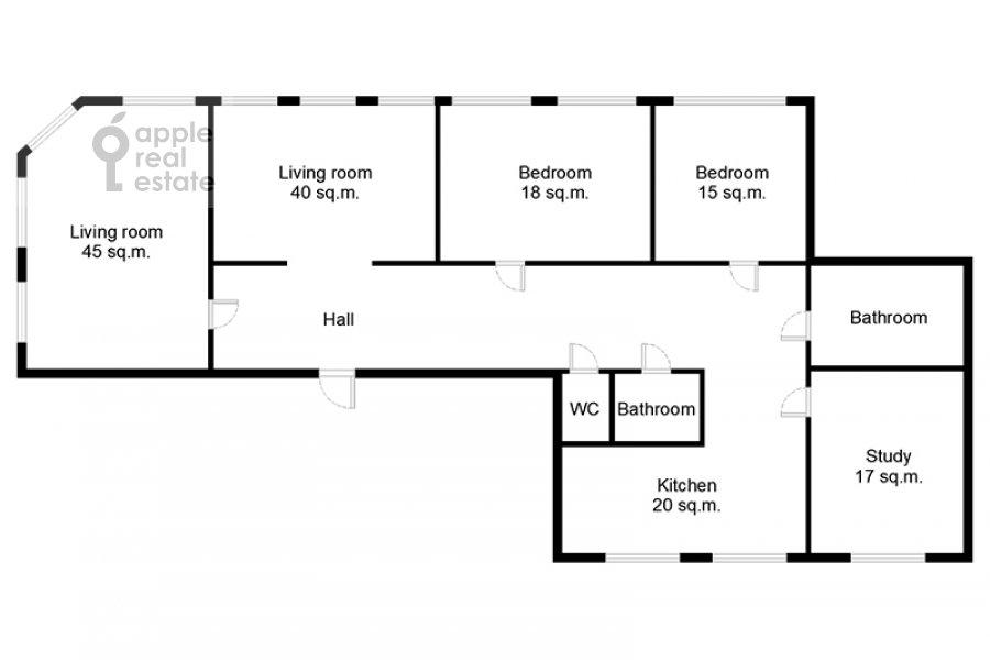 Floor plan of the 5-room apartment at Spiridonovka 38