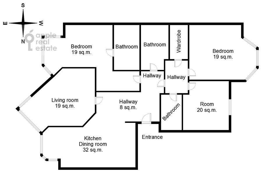 Поэтажный план 4-комнатной квартиры по адресу Ломоносовский проспект 25к5