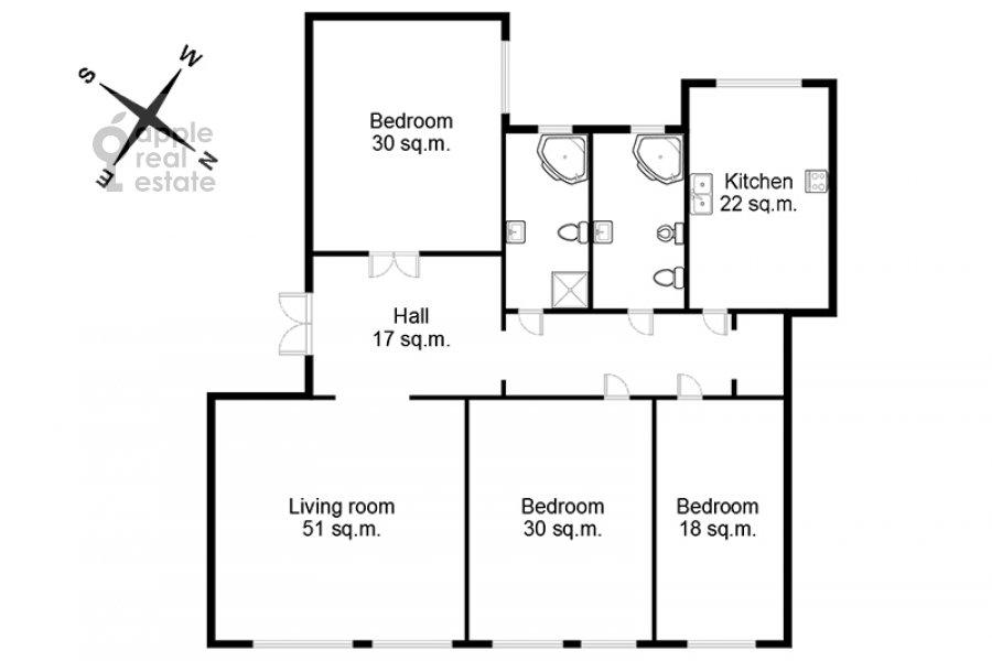Floor plan of the 4-room apartment at Sretenskiy bul'var 6/1S2