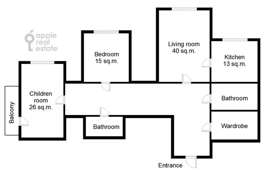 Поэтажный план 3-комнатной квартиры по адресу проспект Вернадского 105к4