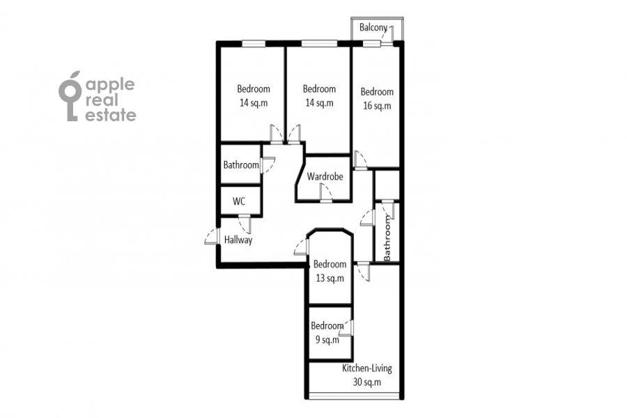 Поэтажный план 6-комнатной квартиры по адресу Мытная улица 7с1