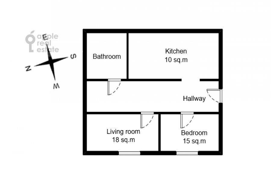 Floor plan of the 2-room apartment at Merzlyakovskiy pereulok 5/1