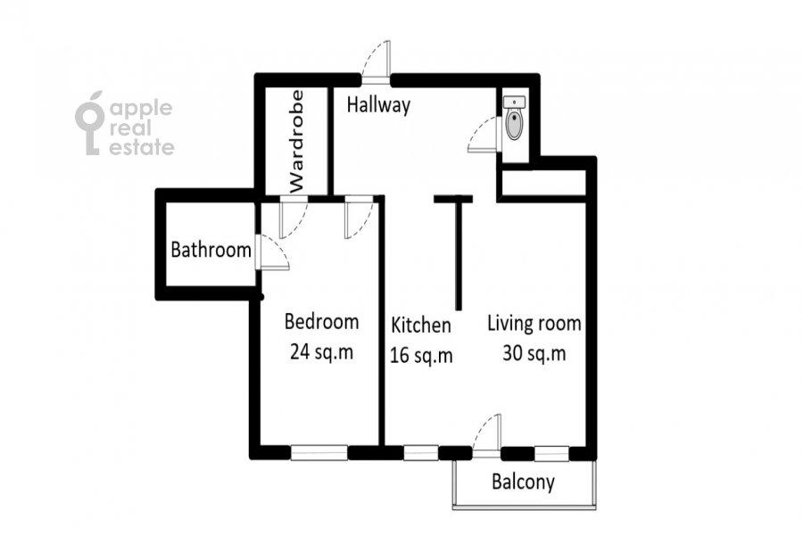 Поэтажный план 2-комнатной квартиры по адресу Наставнический пер. 3