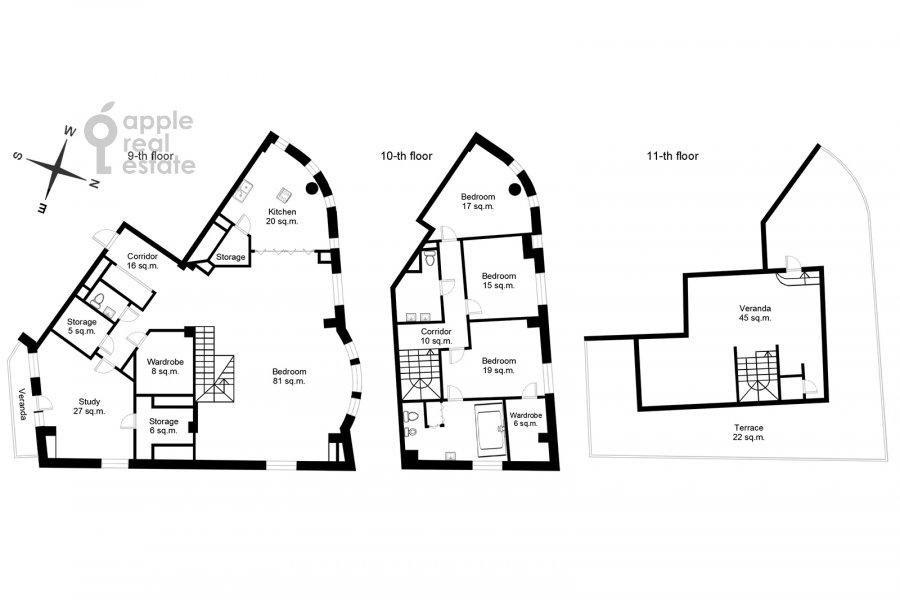 Поэтажный план 5-комнатной квартиры по адресу 1-й Неопалимовский пер. 8