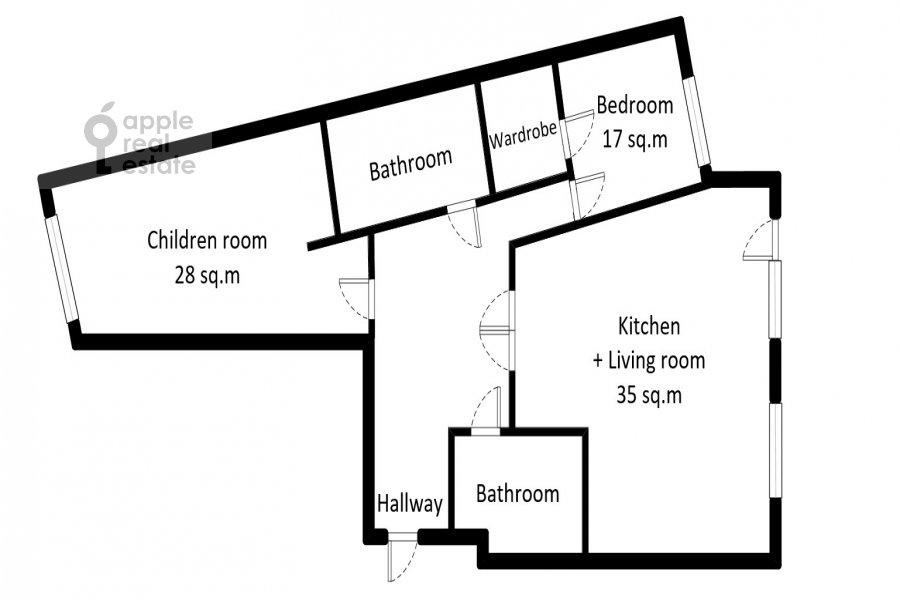 Поэтажный план 3-комнатной квартиры по адресу Мичуринский проспект 26