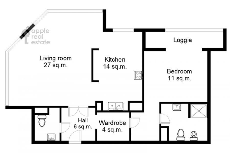 Поэтажный план 2-комнатной квартиры по адресу Хамовнический Вал ул. 36