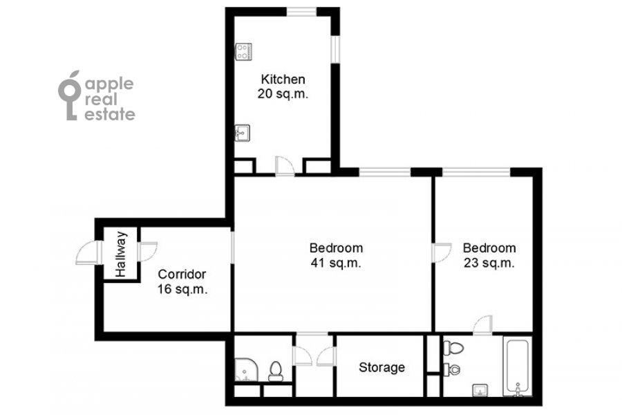 Floor plan of the 2-room apartment at Arkhitektora Vlasova 6