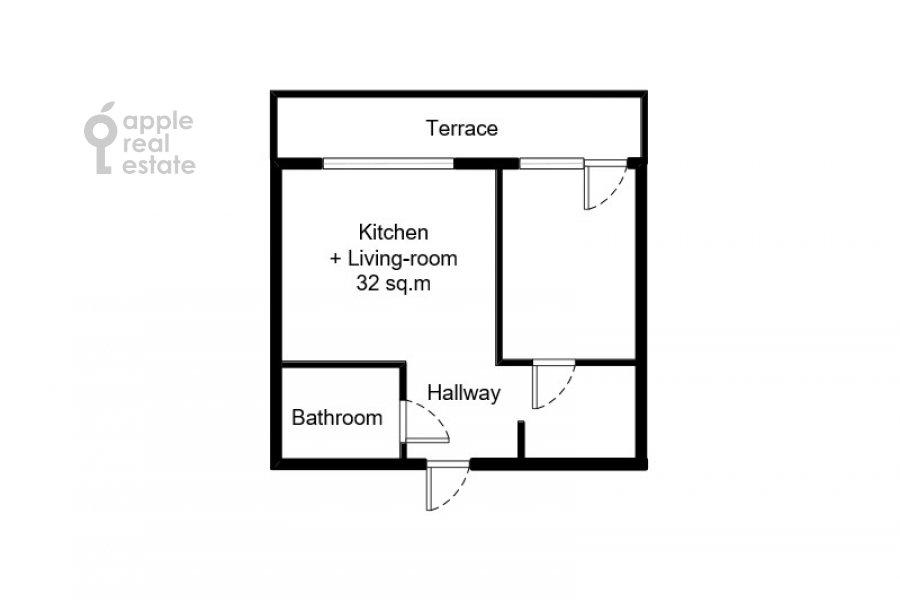 Поэтажный план 1-комнатной квартиры по адресу Воробьевское шоссе 4с1