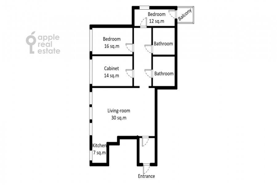 Floor plan of the 4-room apartment at Bol'shoy Khariton'evskiy pereulok 14