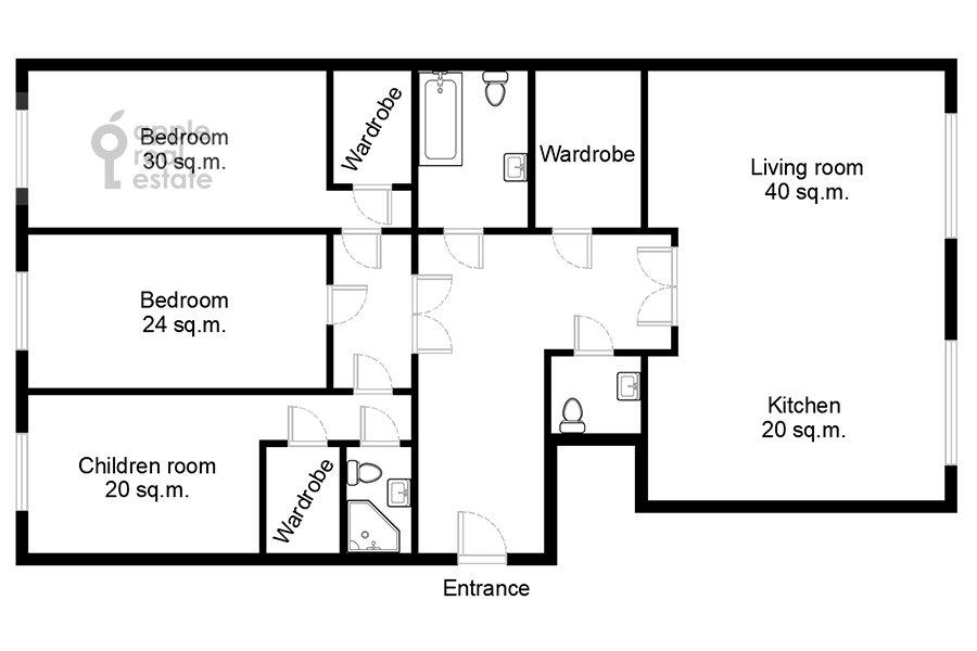 Floor plan of the 4-room apartment at Mosfil'movskaya ulitsa 8