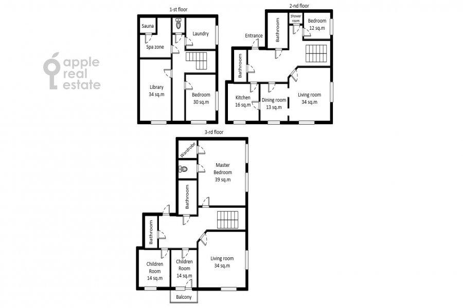 Поэтажный план 6-комнатной квартиры по адресу Староволынская улица 15к6