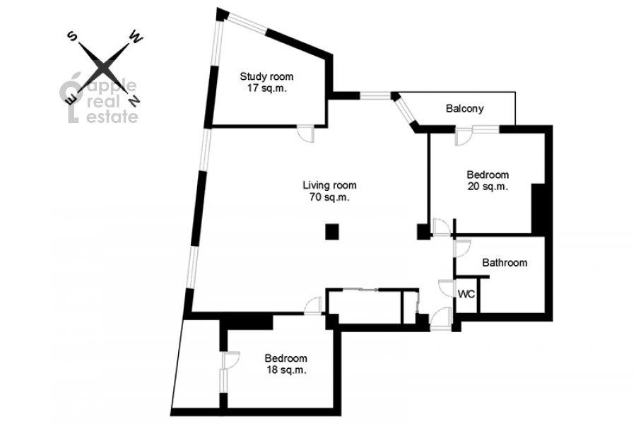 Floor plan of the 4-room apartment at Krylatskie Kholmy 33k3